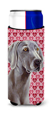 Weimaraner Hearts Love and Valentine's Day Portrait Ultra Beverage Insulators for slim cans LH9161MUK by Caroline's Treasures