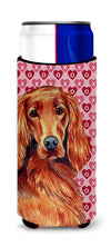 Irish Setter Hearts Love and Valentine's Day Portrait Ultra Beverage Insulators for slim cans LH9164MUK by Caroline's Treasures
