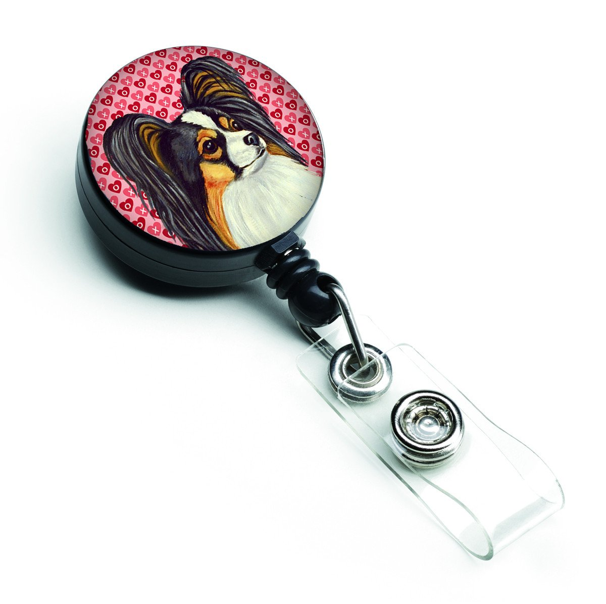 Papillon  Love and Hearts Retractable Badge Reel or ID Holder with Clip by Caroline's Treasures