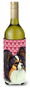 Buy this Papillon Hearts Love and Valentine's Day Portrait Wine Bottle Beverage Insulator Beverage Insulator Hugger