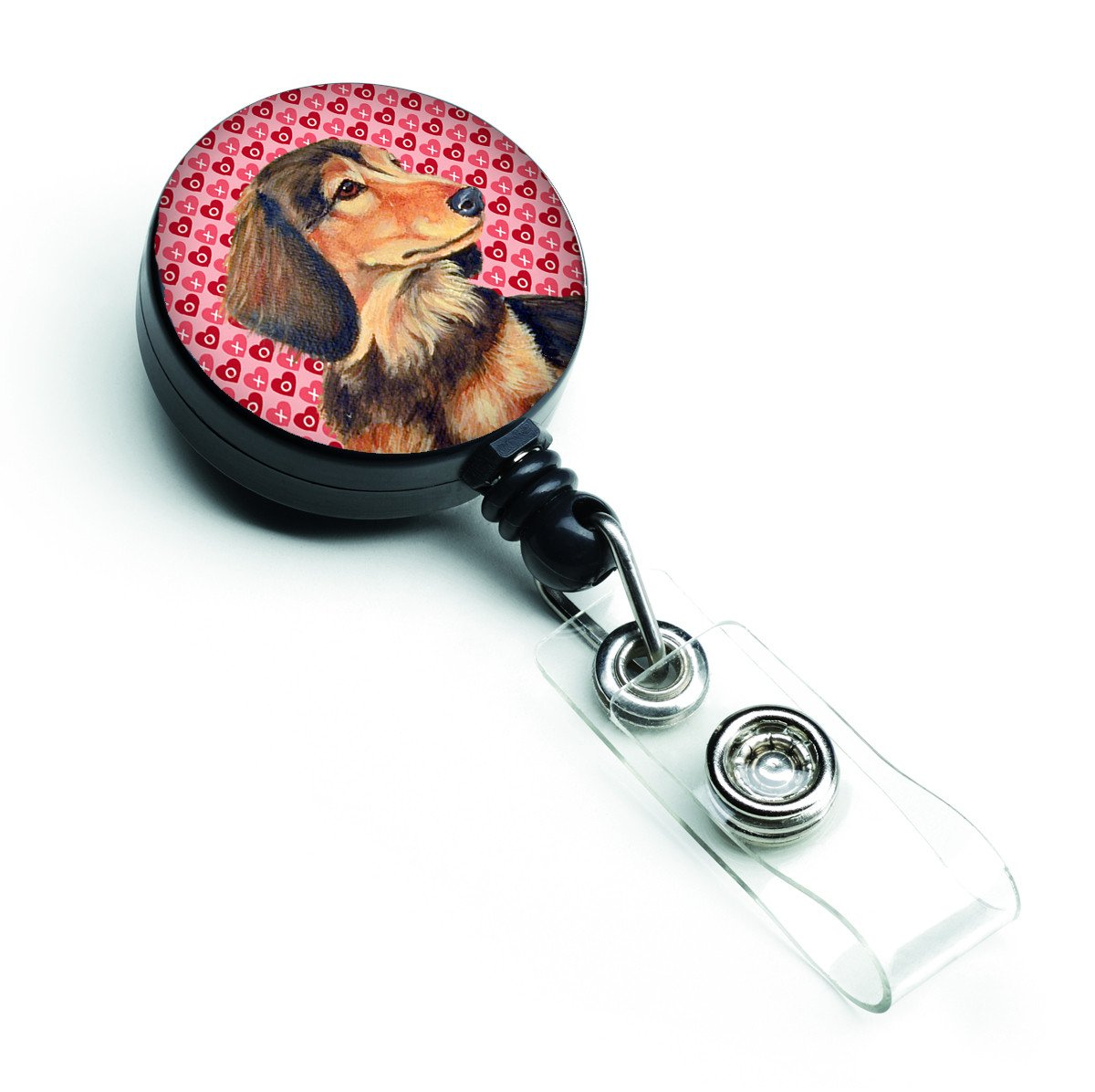 Dachshund  Love and Hearts Retractable Badge Reel or ID Holder with Clip by Caroline's Treasures
