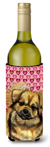 Tibetan Spaniel Hearts Love Valentine's Day Wine Bottle Beverage Insulator Beverage Insulator Hugger by Caroline's Treasures