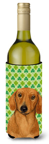 Dachshund St. Patrick's Day Shamrock Portrait Wine Bottle Beverage Insulator Beverage Insulator Hugger by Caroline's Treasures