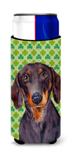 Dachshund St. Patrick's Day Shamrock Portrait Ultra Beverage Insulators for slim cans LH9178MUK by Caroline's Treasures