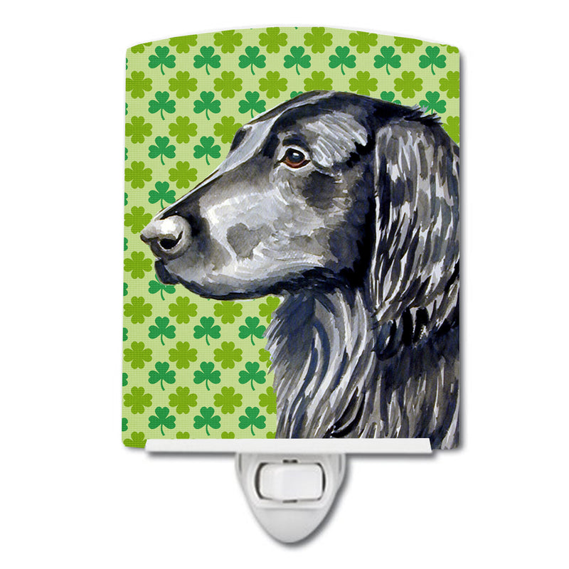 Buy this Flat Coated Retriever St. Patrick's Day Shamrock Portrait Ceramic Night Light LH9186CNL