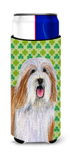 Bearded Collie St. Patrick's Day Shamrock Portrait Ultra Beverage Insulators for slim cans LH9195MUK by Caroline's Treasures