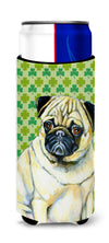 Pug St. Patrick's Day Shamrock Portrait Ultra Beverage Insulators for slim cans LH9207MUK by Caroline's Treasures