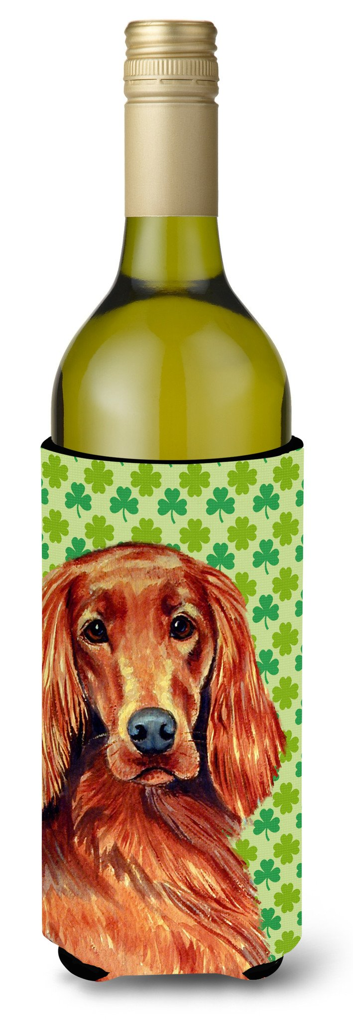 Irish Setter St. Patrick's Day Shamrock Portrait Wine Bottle Beverage Insulator Beverage Insulator Hugger by Caroline's Treasures
