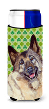 Norwegian Elkhound St. Patrick's Day Shamrock Portrait Ultra Beverage Insulators for slim cans LH9218MUK by Caroline's Treasures