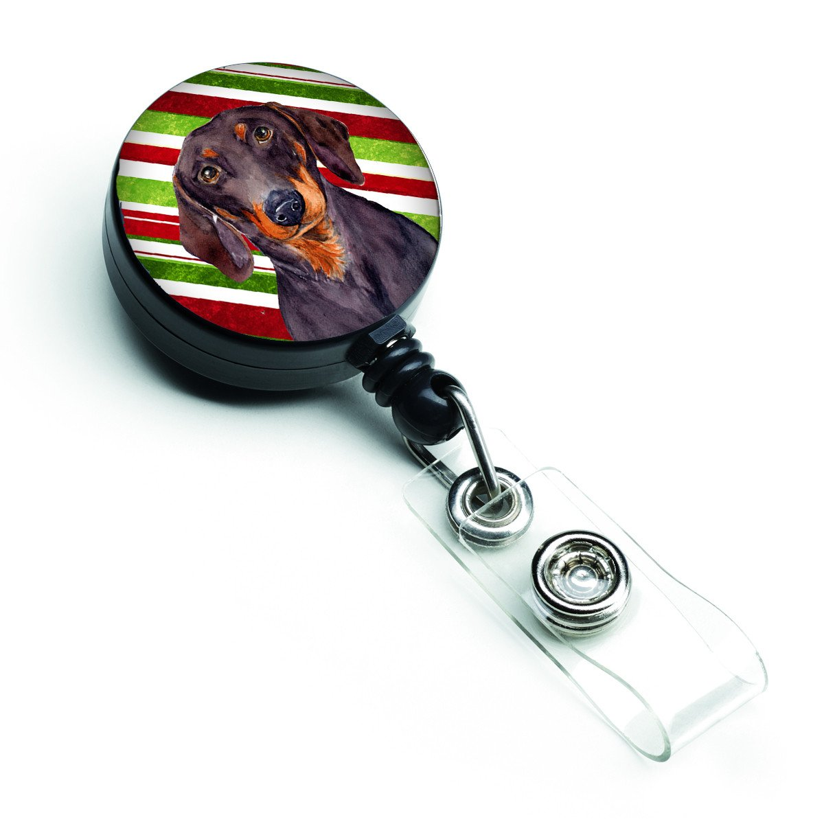 Dachshund Candy Cane Holiday Christmas Retractable Badge Reel LH9223BR by Caroline's Treasures