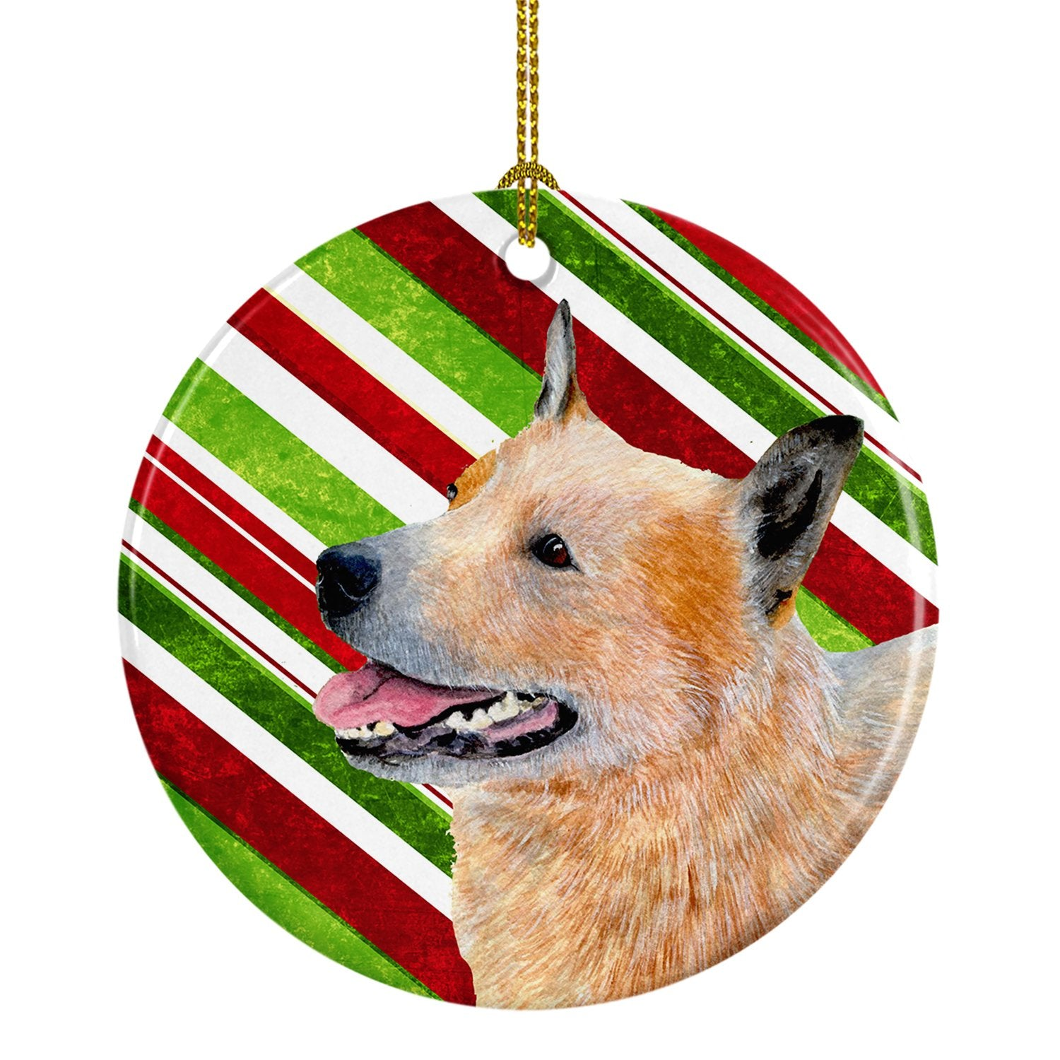 Australian Cattle Dog Candy Cane Holiday Christmas Ceramic Ornament LH9227 by Caroline's Treasures