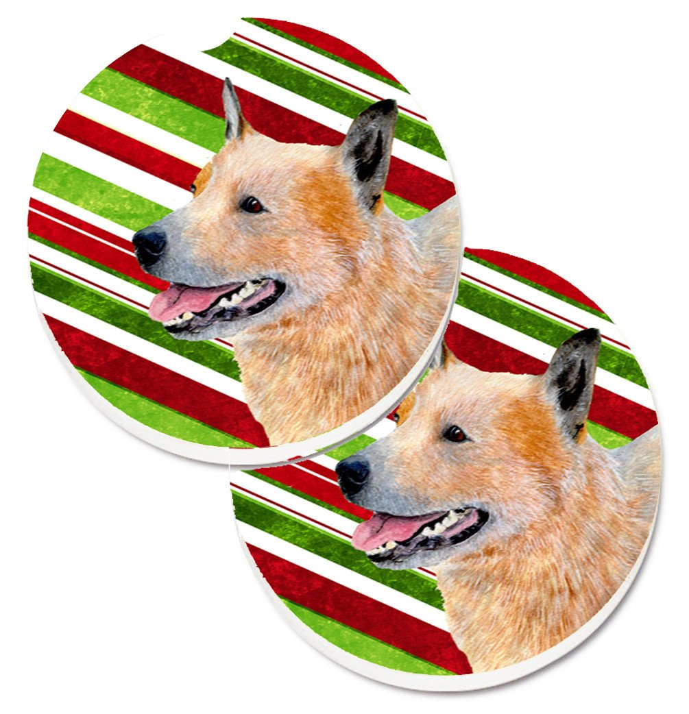 Buy this Australian Cattle Dog Candy Cane Holiday Christmas Set of 2 Cup Holder Car Coasters LH9227CARC