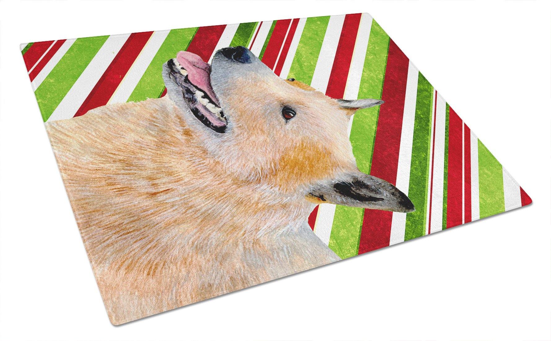 Australian Cattle Dog Candy Cane Holiday Christmas Glass Cutting Board Large - the-store.com