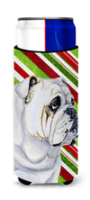 Bulldog English Candy Cane Holiday Christmas Ultra Beverage Insulators for slim cans LH9229MUK by Caroline's Treasures