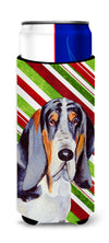 Basset Hound Candy Cane Holiday Christmas Ultra Beverage Insulators for slim cans LH9237MUK by Caroline's Treasures