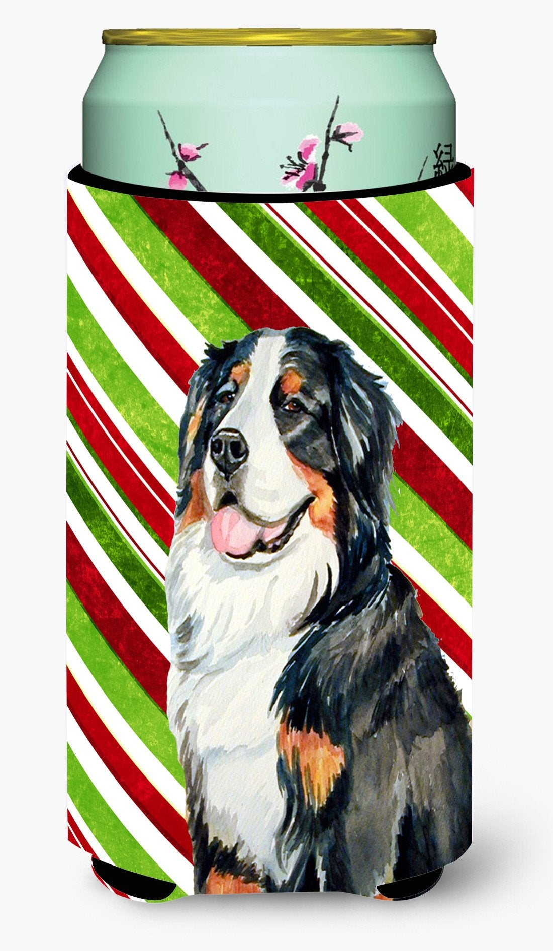 Bernese Mountain Dog Candy Cane Holiday Christmas  Tall Boy Beverage Insulator Beverage Insulator Hugger by Caroline's Treasures