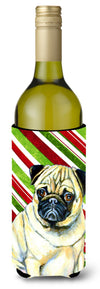 Buy this Pug Candy Cane Holiday Christmas Wine Bottle Beverage Insulator Beverage Insulator Hugger