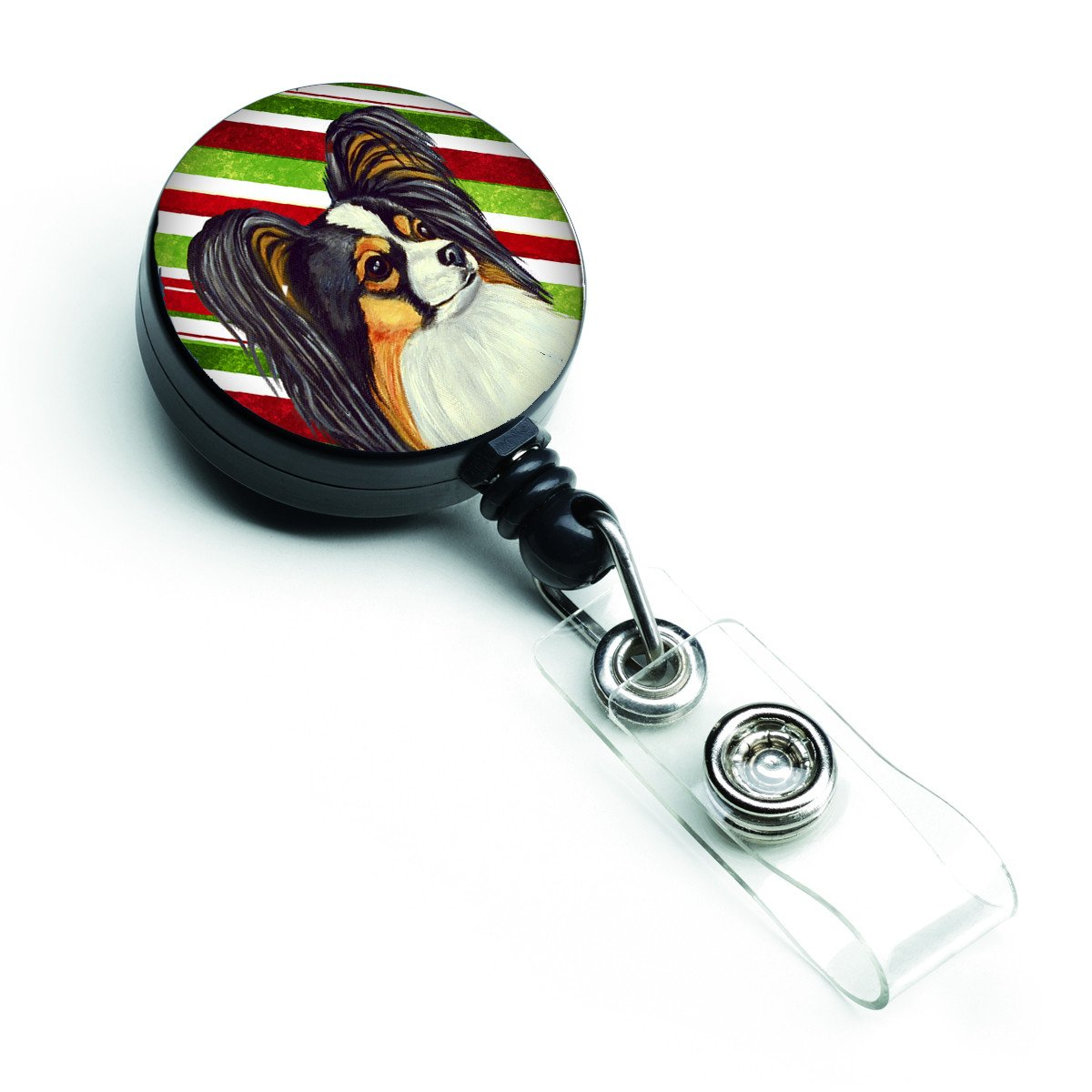 Papillon Candy Cane Holiday Christmas Retractable Badge Reel LH9255BR by Caroline's Treasures