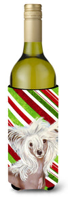 Chinese Crested Candy Cane Holiday Christmas Wine Bottle Beverage Insulator Beverage Insulator Hugger - the-store.com