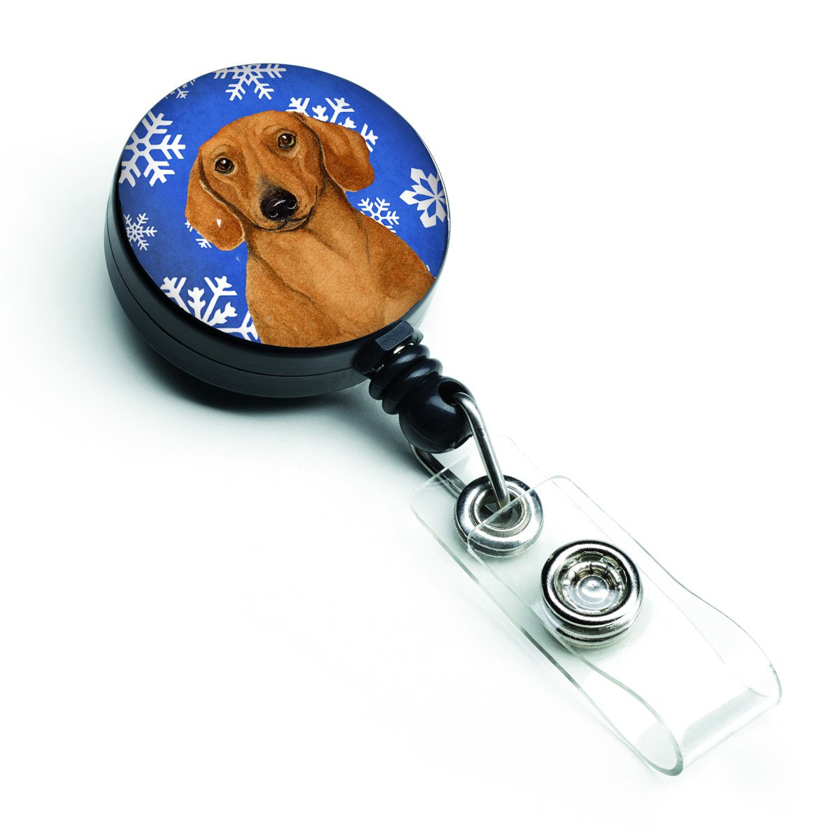 Dachshund Winter Snowflakes Holiday Retractable Badge Reel LH9267BR by Caroline's Treasures