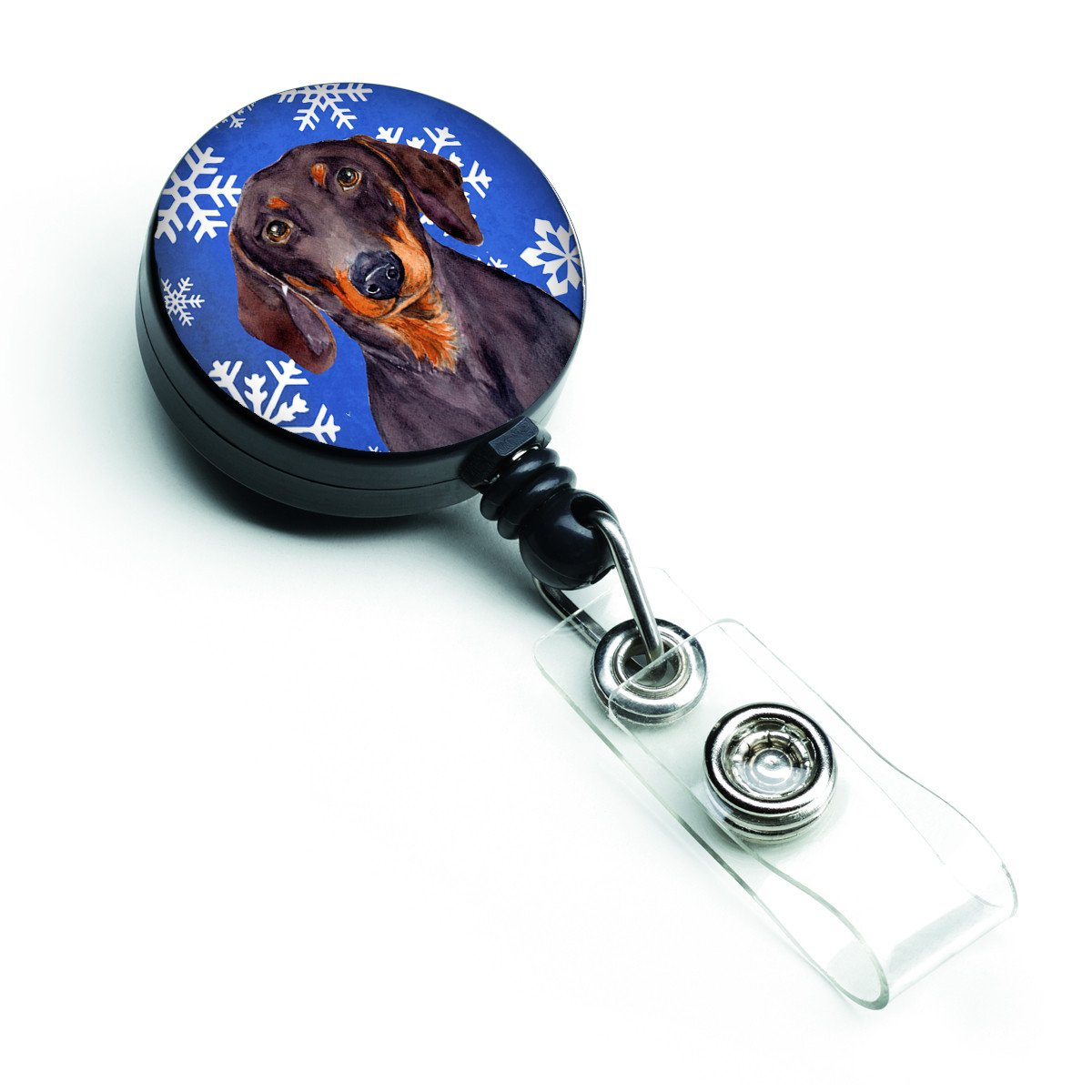 Dachshund Winter Snowflakes Holiday Retractable Badge Reel LH9268BR by Caroline's Treasures