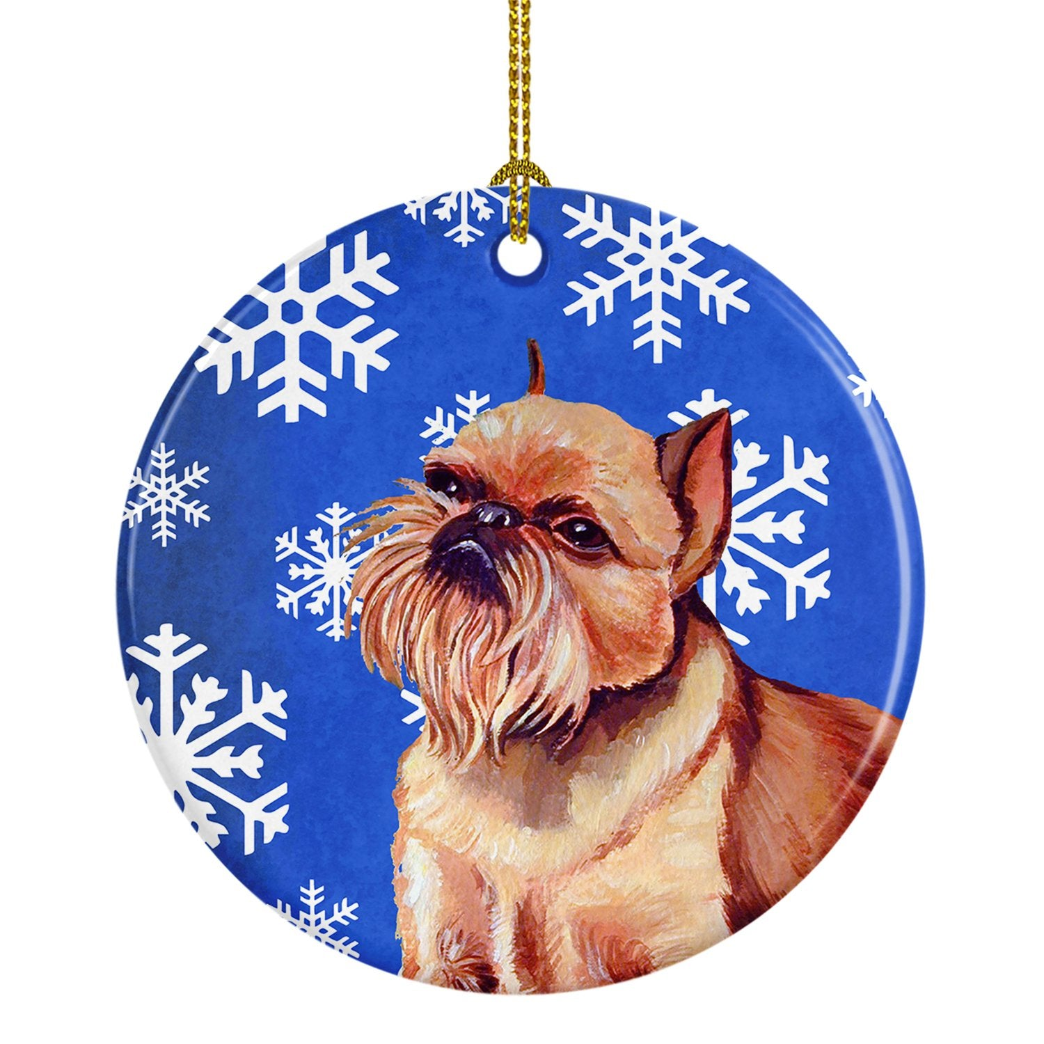 Brussels Griffon Winter Snowflake Holiday Ceramic Ornament LH9269 by Caroline's Treasures