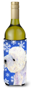 Buy this Westie Winter Snowflakes Holiday Wine Bottle Beverage Insulator Beverage Insulator Hugger
