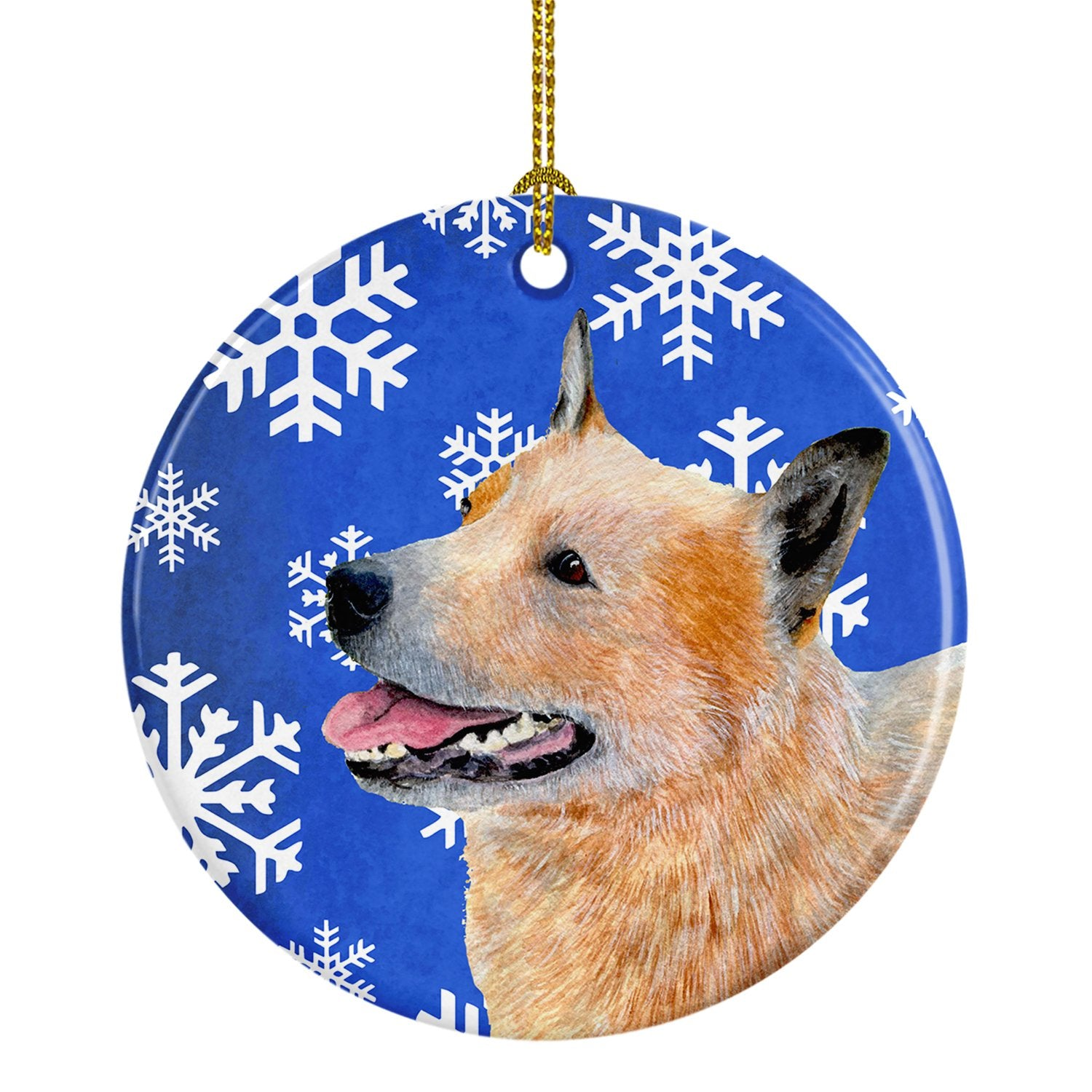 Australian Cattle Dog Winter Snowflake Holiday Ceramic Ornament LH9272 by Caroline's Treasures