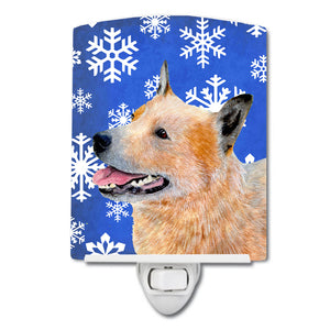 Buy this Australian Cattle Dog Winter Snowflakes Holiday Ceramic Night Light LH9272CNL