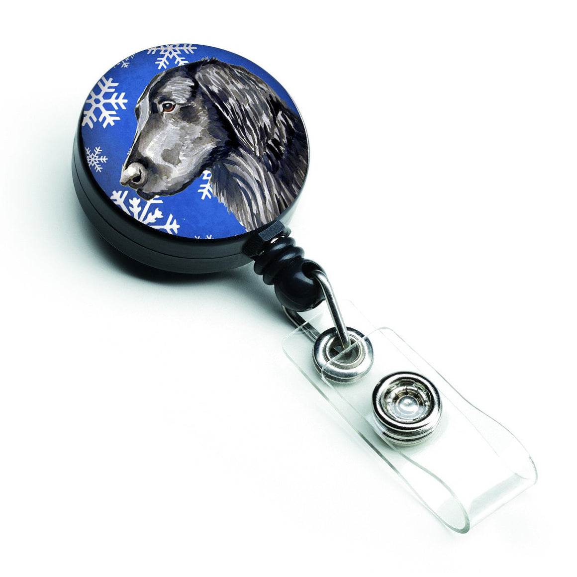 Buy this Flat Coated Retriever Winter Snowflakes Holiday Retractable Badge Reel LH9276BR