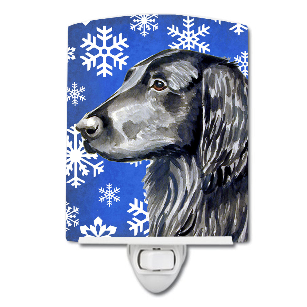 Buy this Flat Coated Retriever Winter Snowflakes Holiday Ceramic Night Light LH9276CNL