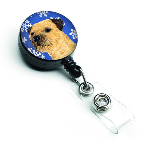 Buy this Border Terrier Winter Snowflakes Holiday Retractable Badge Reel LH9278BR