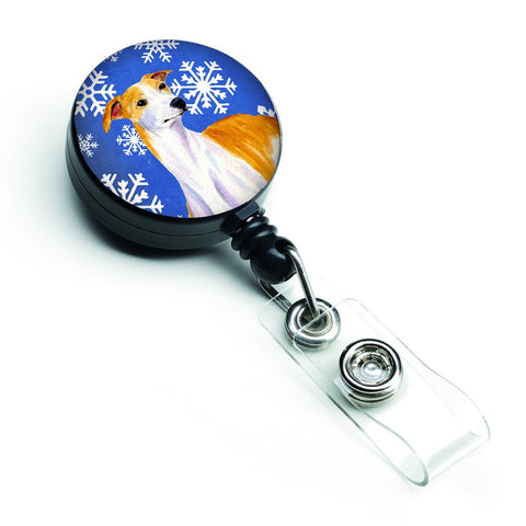 Buy this Whippet Winter Snowflakes Holiday Retractable Badge Reel LH9283BR