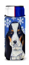 Basset Hound Winter Snowflakes Holiday Ultra Beverage Insulators for slim cans LH9284MUK by Caroline's Treasures