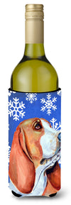 Basset Hound Winter Snowflakes Holiday Wine Bottle Beverage Insulator Beverage Insulator Hugger LH9287LITERK by Caroline's Treasures