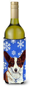 Corgi Winter Snowflakes Holiday Wine Bottle Beverage Insulator Beverage Insulator Hugger by Caroline's Treasures