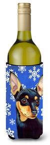 Min Pin Winter Snowflakes Holiday Wine Bottle Beverage Insulator Beverage Insulator Hugger by Caroline's Treasures
