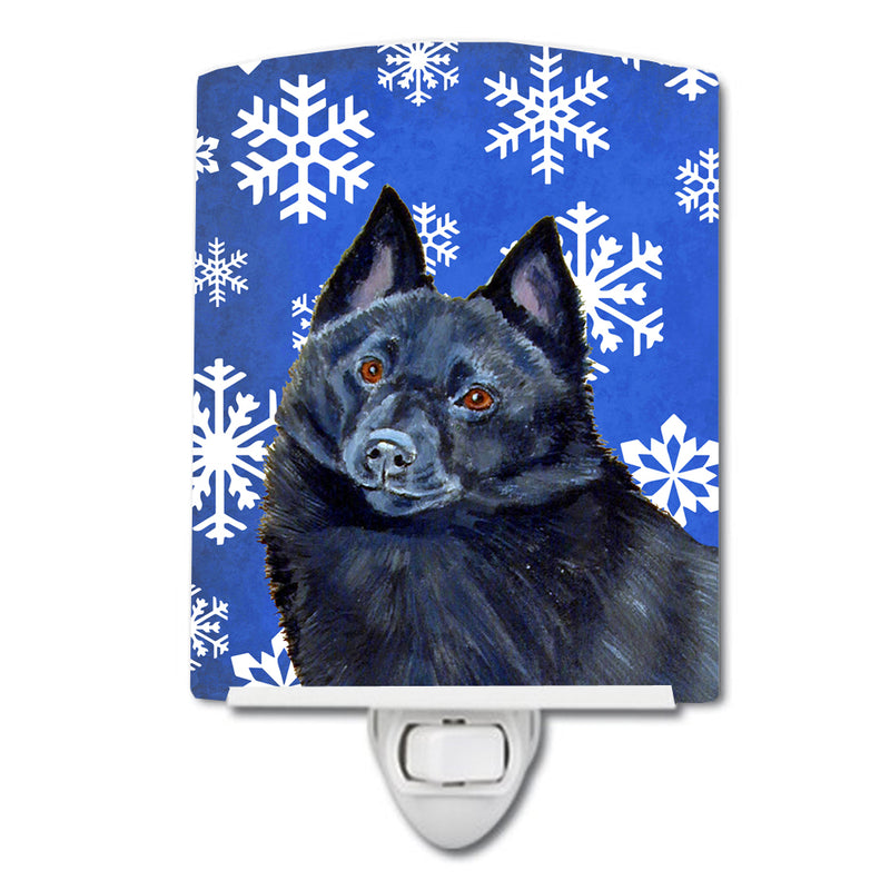 Buy this Schipperke Winter Snowflakes Holiday Ceramic Night Light LH9294CNL