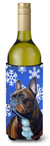 Buy this French Bulldog Winter Snowflakes Holiday Wine Bottle Beverage Insulator Beverage Insulator Hugger LH9295LITERK