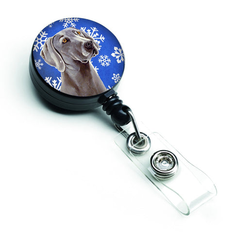 Buy this Weimaraner Winter Snowflakes Holiday Retractable Badge Reel LH9296BR