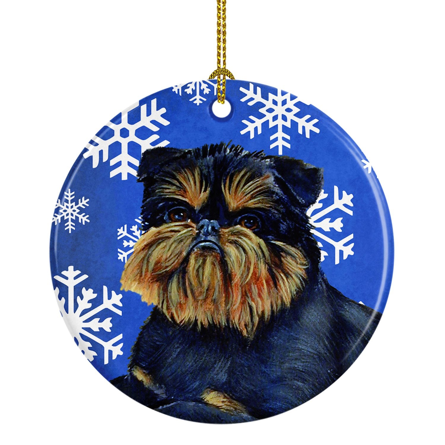 Brussels Griffon Winter Snowflake Holiday Ceramic Ornament LH9298 by Caroline's Treasures