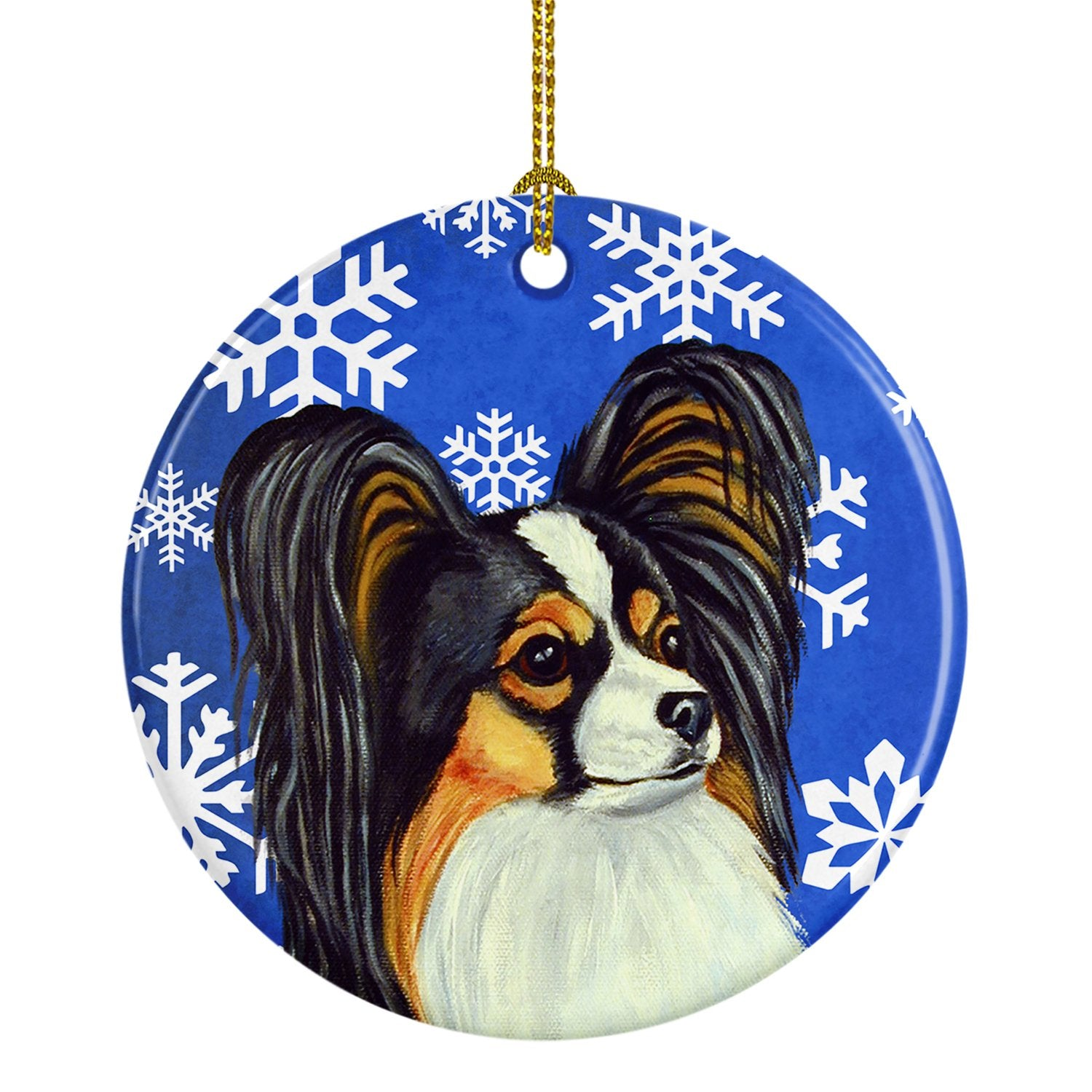 Papillon Winter Snowflake Holiday Ceramic Ornament LH9300 by Caroline's Treasures