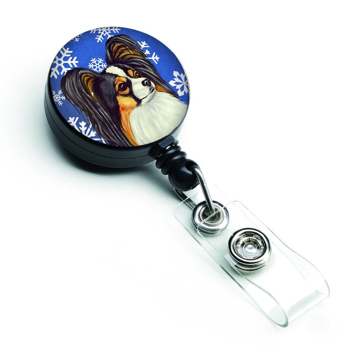 Papillon Winter Snowflakes Holiday Retractable Badge Reel LH9300BR by Caroline's Treasures