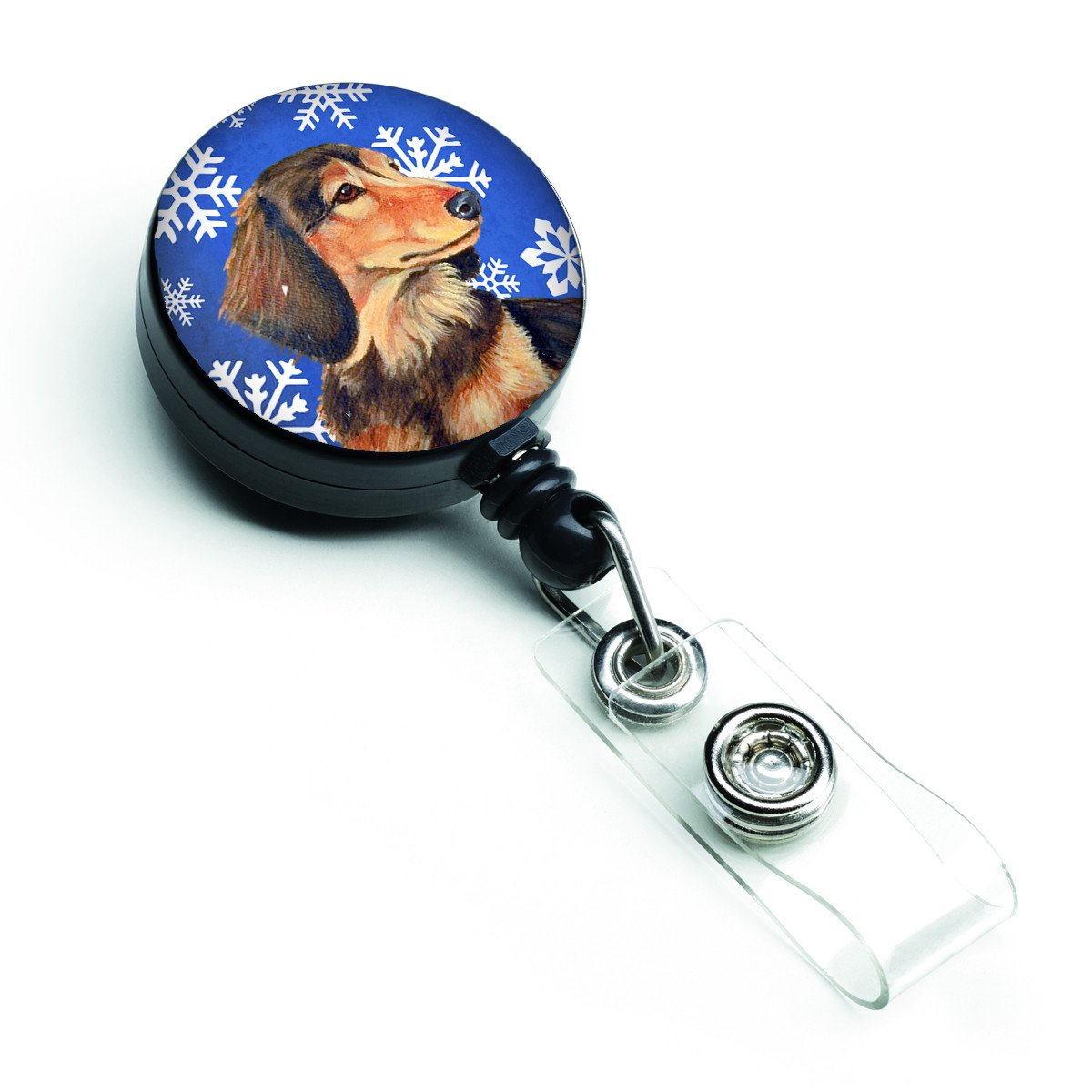 Dachshund Winter Snowflakes Holiday Retractable Badge Reel LH9301BR by Caroline's Treasures