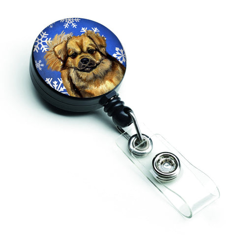Buy this Tibetan Spaniel Winter Snowflakes Holiday Retractable Badge Reel LH9304BR