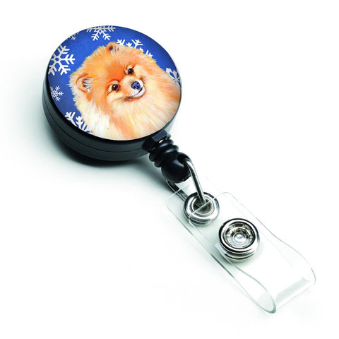 Buy this Pomeranian Winter Snowflakes Holiday Retractable Badge Reel LH9305BR