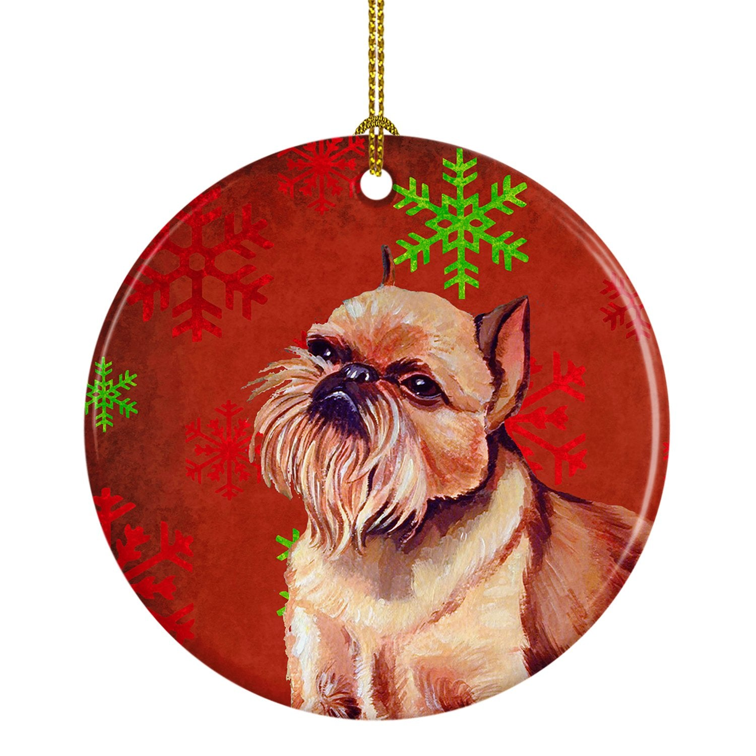 Brussels Griffon Red Snowflake Holiday Christmas Ceramic Ornament LH9314 by Caroline's Treasures
