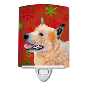 Buy this Australian Cattle Dog Red Green Snowflakes Christmas Ceramic Night Light LH9317CNL