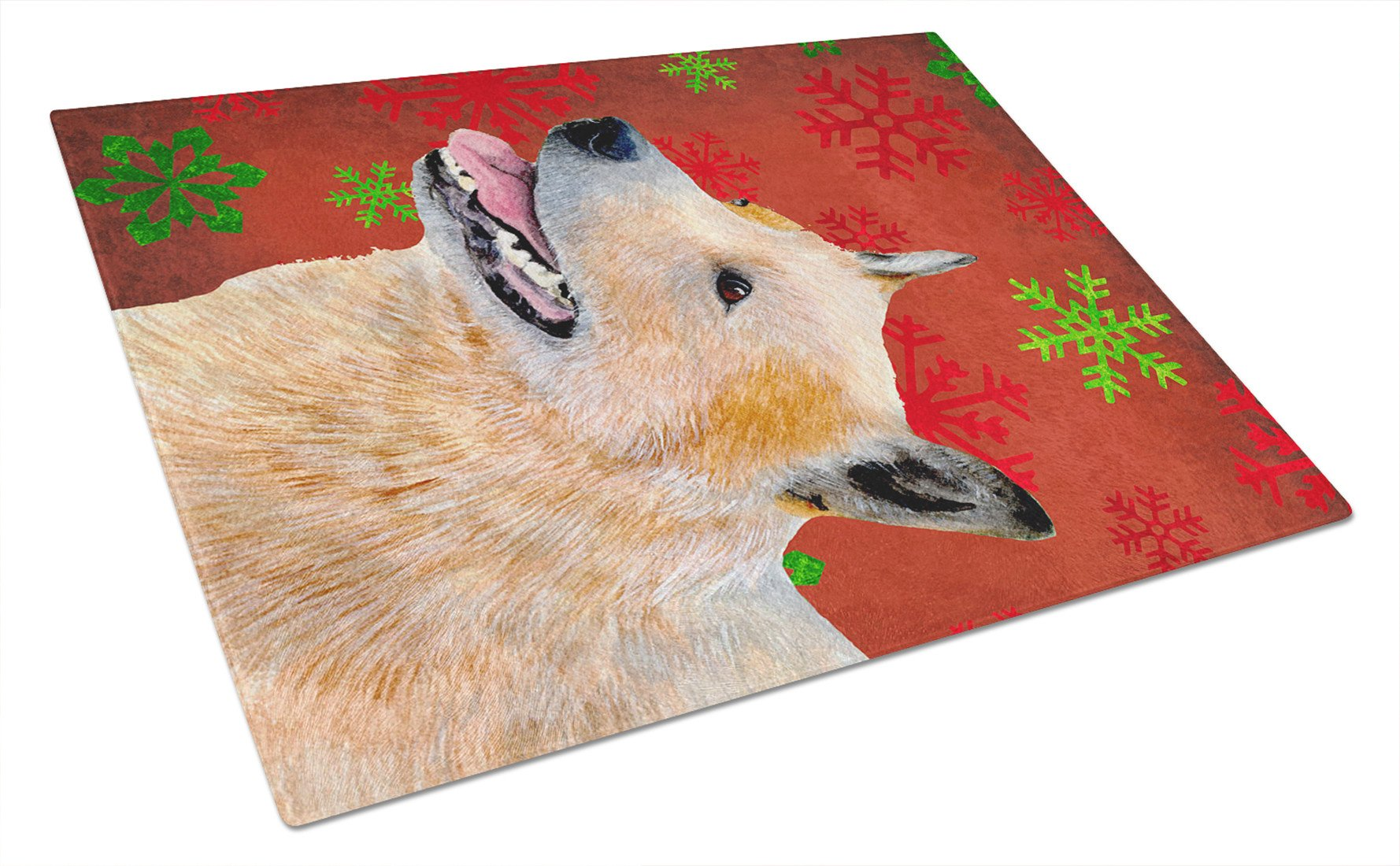 Australian Cattle Dog Red Green Snowflakes Christmas Glass Cutting Board Large by Caroline's Treasures