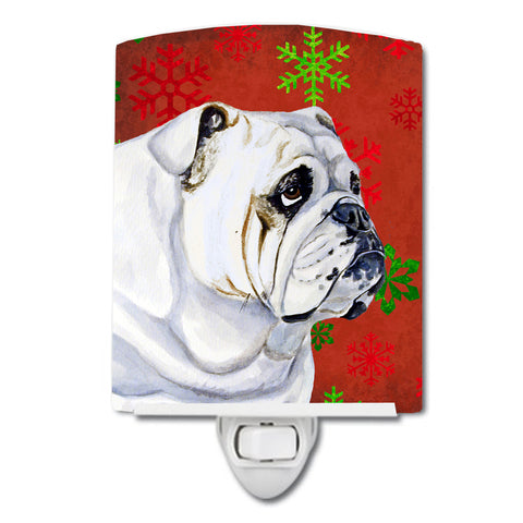 Buy this Bulldog English Red and Green Snowflakes Holiday Christmas Ceramic Night Light LH9319CNL